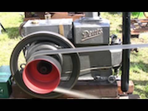 Deutz Stationärmotor treibt Säge und Bohrmaschine an Stationary Engine Moteur Fixe