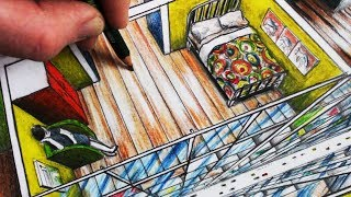 How to Draw a Room in 1-Point Perspective in a City: Narrated