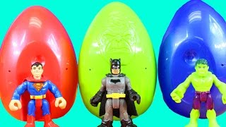 Easter Surprise Egg Toy Opening Imaginext Batman Superman Hulk Open Eggs Learn Colors