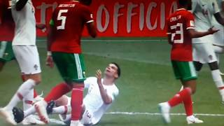 Pepe overreacting Morocco vs Potugal