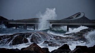 Dangerous Norway's Atlantic Ocean Road 2016
