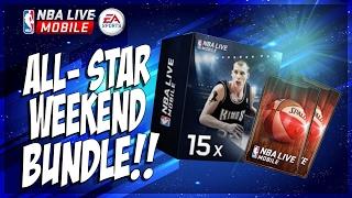 NBA Live Mobile 15x ALL STAR WEEKEND BUNDLE OPENING!! PLUS 92+ OVR STARTER SET!!