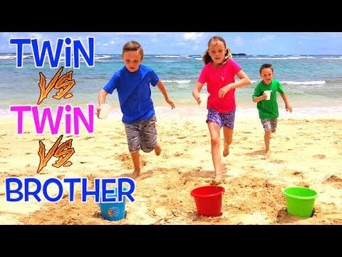 Twin VS Twin VS Brother BEACH GAMES CHALLENGE in Hawaii Kids Fun TV