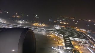 Hong Kong Airport. Night Time View at Takeoff. Boeing 777 Cathay Pacific