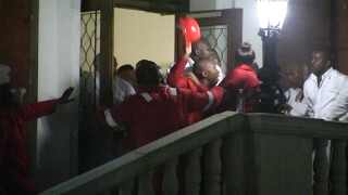 Chaos erupts outside Parliament as bricks, safety hats fly between EFF and security