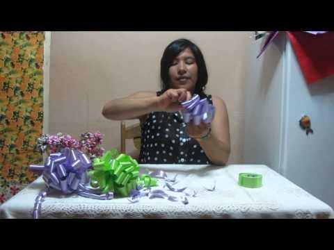 como hacer moños con cinta de agua