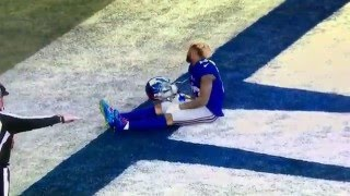 O'Dell Beckham knocked out of game. Giants vs. Jets. NY Bowl