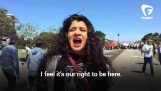 Anti Trump Protestor claims California is