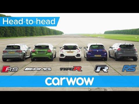 RS 3 v A45 AMG v Civic Type R v Golf R v Focus RS DRAG & ROLLING RACE Head to Head