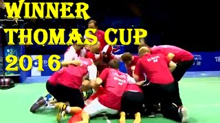 Dramatic! Celebration Denmark Winner Piala thomas cup 2016 /Final Result Thomas cup 2016