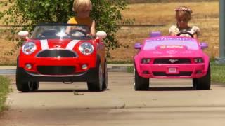 Kids Ride On Car Race - Mini Cooper vs Disney Mustang