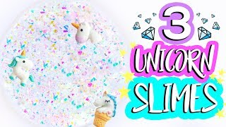 3 DIY Unicorn Slime Recipes! How to Make Easy Iridescent Glitter Clear Slimes
