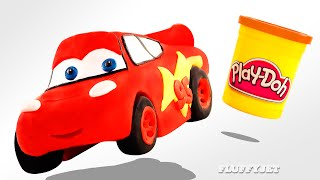 Play Doh McQueen Disney Cars toy for kids Family Fun Stop Motion Pixar Race Car Ride driving