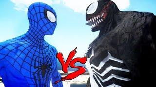 The Amazing Blue Spiderman vs Venom - Superheroes Battle