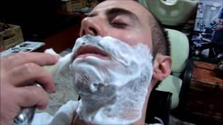 💈 Old School Italian Barber   Shave with Straight Razor and hot towel   ASMR intentional sounds