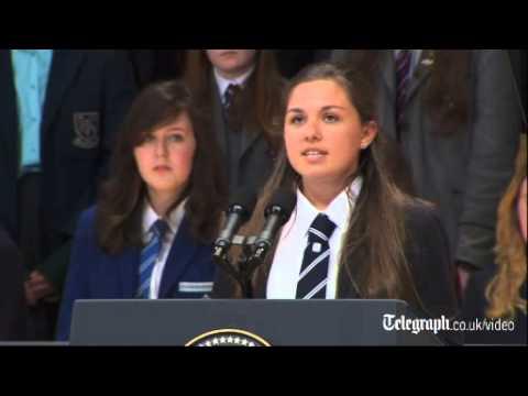 Xxx Mp4 Belfast Schoolgirl Hannah Nelson Steals Show Before Barack Obama Speech 3gp Sex