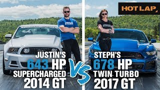 Justin vs Steph Drag Race   643+ HP Supercharged GT vs 678+ HP Twin Turbo Mustang GT - Hot Lap