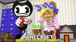 BENDY AND THE INK MACHINE STEALS MY FIDGET SPINNER!!!- Baby Leah Minecraft Adventures!