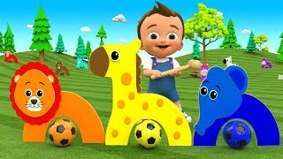 Colors for Children to Learn with Little Baby Fun Play Soccer Balls Hammer Animals Golf Game 3D Kids