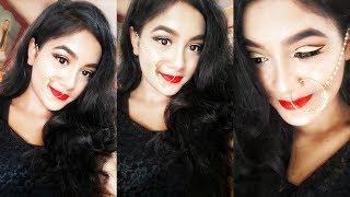 Glam Diwali Makeup Tutorial | Black & Gold Cut Crease | Indian Wedding Guest Makeup
