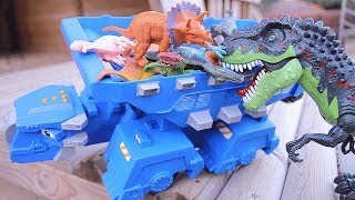 T-Rex Attack Dinosaurs Dump Truck In Jungle! Dinosaur Toy Movie FULL VIDEO for Kids. Dinotrux TonTon