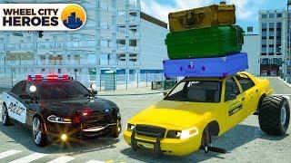 Sergeant Lucas the Police Car Helps Broken Taxi Cab - Wheel City Heroes (WCH) Police Cartoon Series