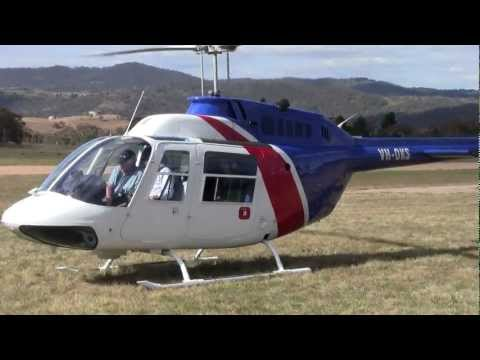Bell 206 start up and take off Jindabyne Snowy Mountains Australia
