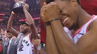 Raptors Share A Special Moment After Game 6 With Eastern Conference Finals Trophy Ceremony!