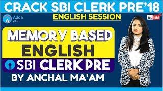 SBI CLERK PRE   Memory Based SBI CLERK PRE 2018 English Anchal ma'am
