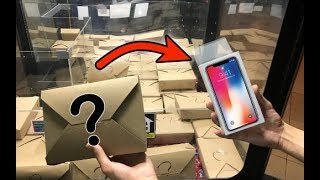 WON iPhone X from MYSTERY BOX CLAW MACHINE! | JOYSTICK