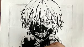 How to draw KANEKI (TOKYO GHOUL) anime step by step tutorial