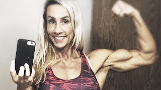 54 years young hard biceps muscle woman Patricia Hildebrandt