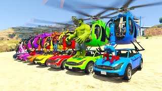 COLOR HELICOPTER on cars with superheroes cartoon for kids and babies 3D animation.