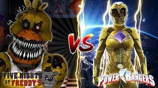 Minecraft FNAF CHICA VS THE YELLOW POWER RANGER!! - WHOS IS THE STRONGEST GIRL?? - Donut the Dog