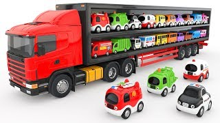Colors for Children to Learn with Truck Transporter Toy Street Vehicles - Educational Videos