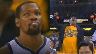 Kevin Durant Brings The Warriors Crowd To Their Feet With 3 Pointer After Shutting Down Pau Gasol!