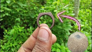 how to make a coconut shell ring - awesome