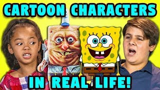 10 CARTOON CHARACTERS IN REAL LIFE w/ KIDS (React)