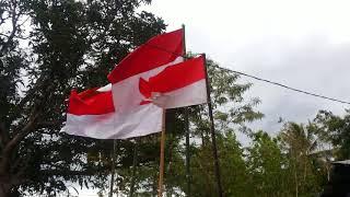 Pemasangan Bendera merah Putih di Rumah adat Kerajaan Kemak dirubati di Kab Belu_NTT_Indonesia