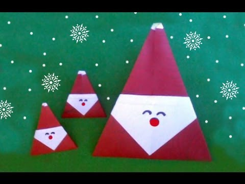 Easy Origami Santa Claus Christmas (diff 3/10) 折り紙サンタクロース (Père Noël Weihnachtsmann Papá Noel)