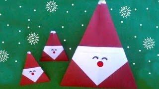 Easy Origami Santa Claus Christmas (diff 3/10) 折り紙サンタクロース (Père Noël Weihnachtsmann Papá Noel)
