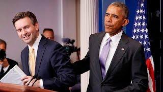 Obama surprises press secretary