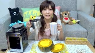 Japan girl eats 1.2Kg of Kabocha Squash Filled with Pudding    Y