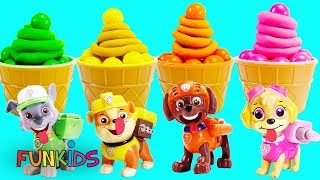 Paw Patrol Skye & Chase Play Doh and Gumball Cupcakes with Icing & Toy Microwave