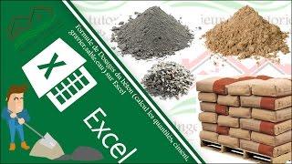 Formule de Dosages du béton (calcul les quantités: Ciment, Gravier, Sable, Eau) sur Excel