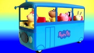 Peppa Pig School Bus Toy Review with Miss Rabbit 2016 - Cerdita Peppa Pig Autobús Escolar