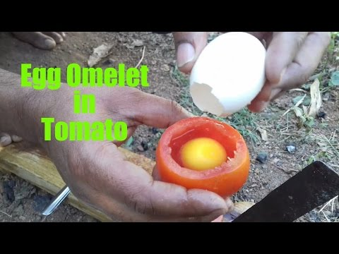 How To Cook An Egg Omelette In A Tomato Rare Recipe Wild Survival Style my village food