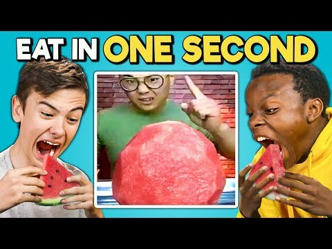 Try To Eat In 1 Second Challenge Speed Eating Teens & College Kids Vs. Food