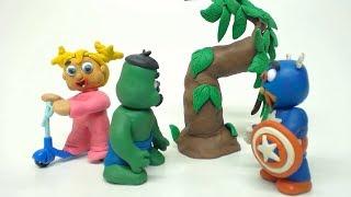 Baby Superhero Stolen Bike Video Play Doh Elsa Frozen Hulk Kids Stop Motion Movies