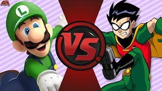 LUIGI vs ROBIN! (Mario vs DC Comics) Cartoon Fight Night Episode 3